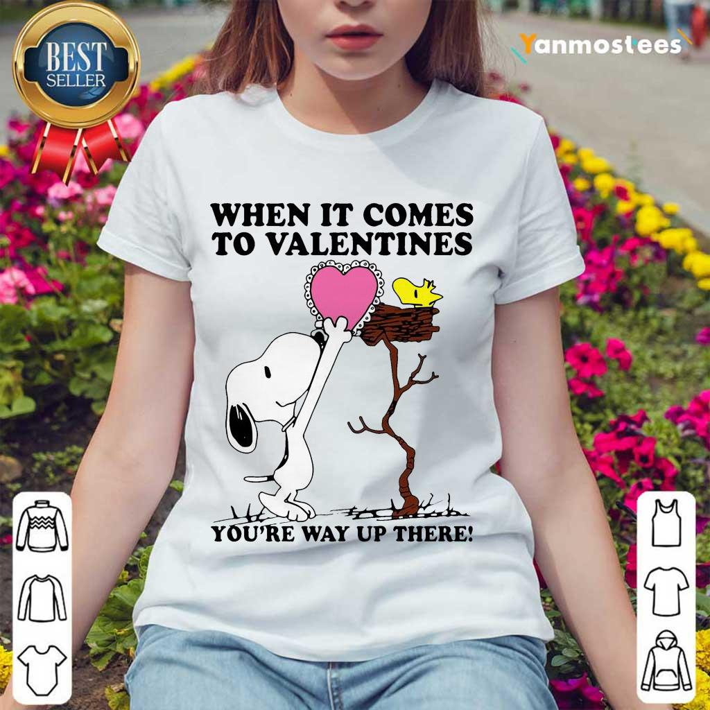 Great Snoopy And Woodstock Comes To Valentines 1 Ladies Tee