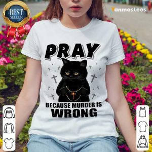 Delighted Black Cat Pray 2021 Ladies Tee
