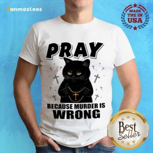Delighted Black Cat Pray 2021 Shirt