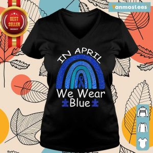 Intrigued In April We Wear Blue Rainbow Ladies Tee
