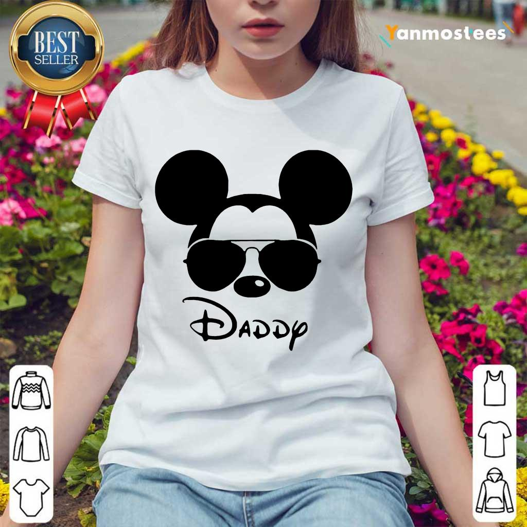 Surprised Disney Mickey Mouse Daddy Ladies Tee