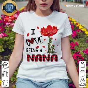 I Love Being A Nana Red Flower Ladies Tee