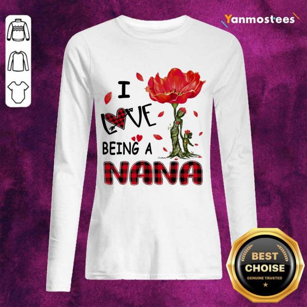I Love Being A Nana Red Flower Long-Sleeved