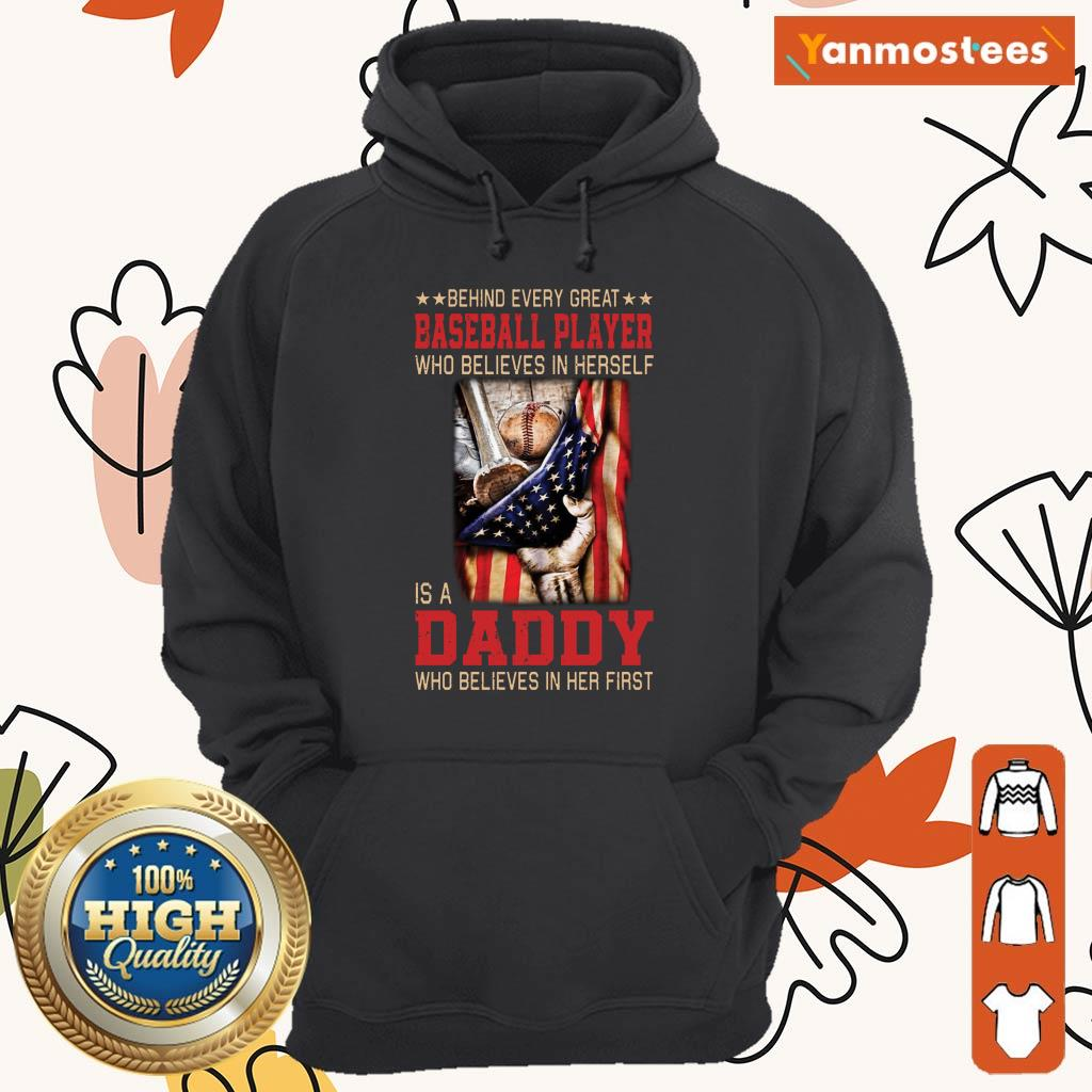 Baseball Player Is A Daddy American Flag Hoodie