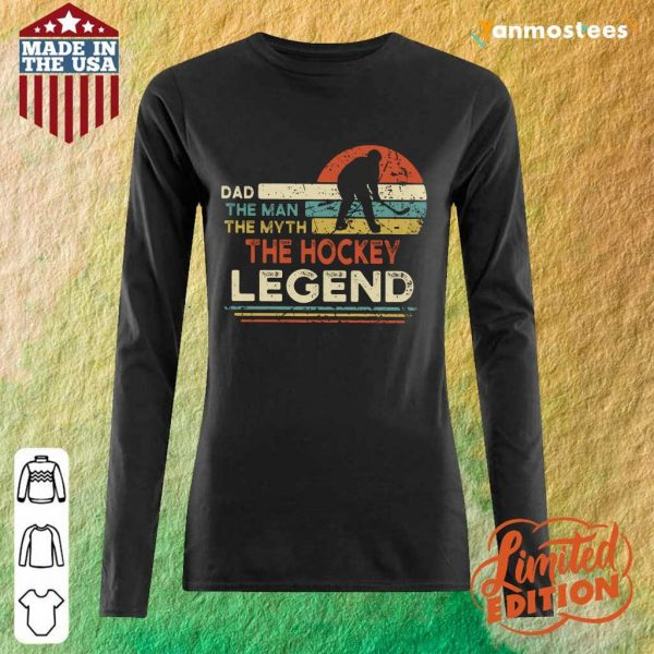 Dad The Man The Myth The Hockey Legend Vintage Long-Sleeved