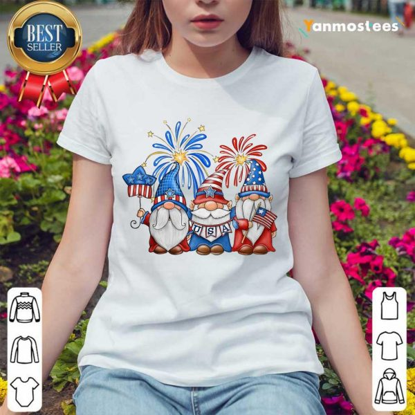 Gnomes Happy Independence Day Ladies Tee