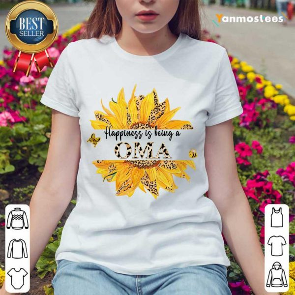 Happiness Is Being A Oma Leopard Sunflower Ladies Tee