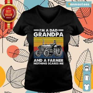 I Am A Dad Grandpa And A Farmer Nothing Scares Vintage Ladies Tee