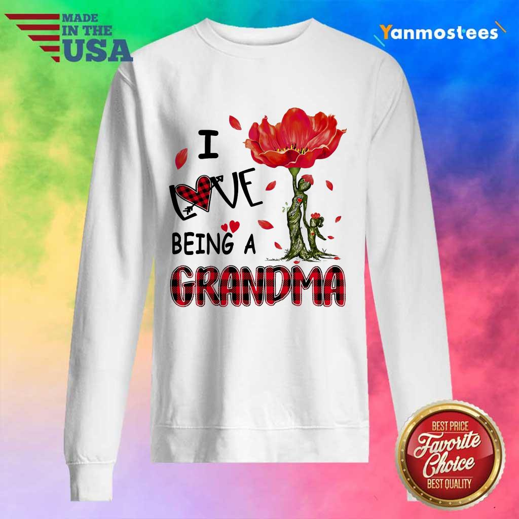 I Love Being A Grandma Red Flower Sweater