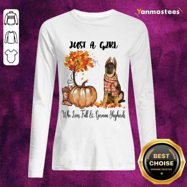 Just A Girl Who Loves Fall And German Shepherd Halloween Long-Sleeved