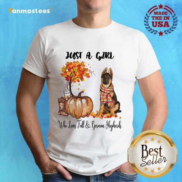 Just A Girl Who Loves Fall And German Shepherd Halloween Shirt