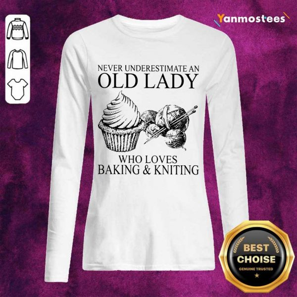 Old Lady Who Loves Baking And Knitting Long-Sleeved