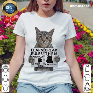 Cat Learn Rules Carefully So You Can Break Them Properly Ladies Tee