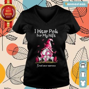 Gnome Breast Cancer Awareness I Wear Pink For My Wife Ladies Tee