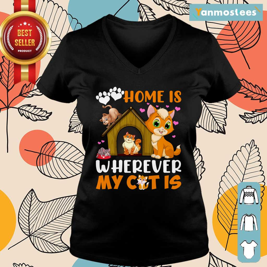 Love Home Is Wherever My Cat Is Paw Ladies Tee