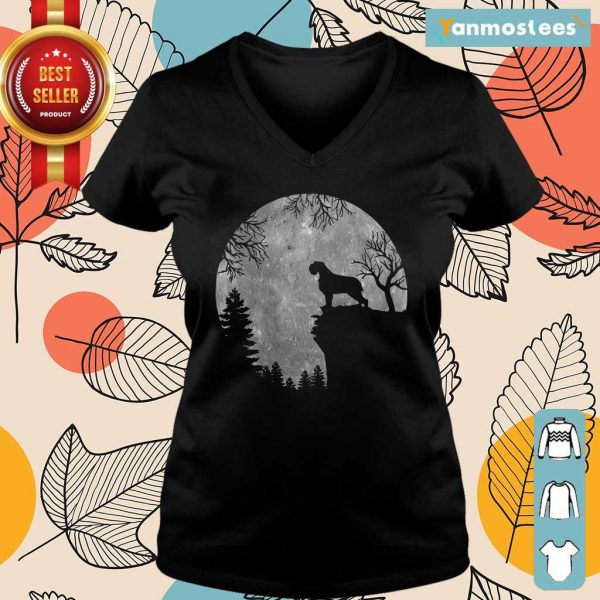 Wirehaired Pointing Griffon And Moon Halloween Ladies Tee