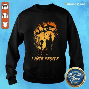 Alien Bigfoot Middle Finger I Hate People Camping Sweater
