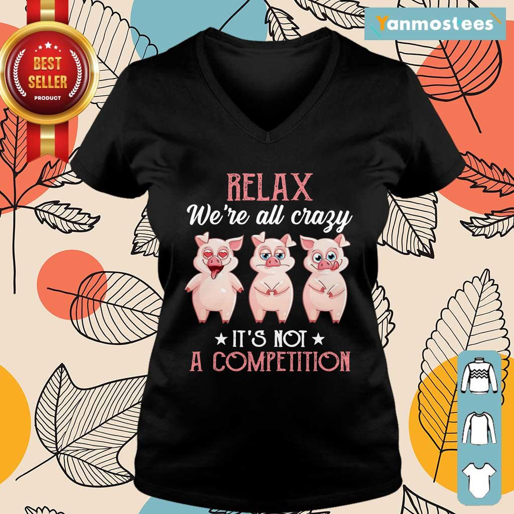 Baby Pigs Relax Were All Crazy Its Not A Competition Ladies Tee