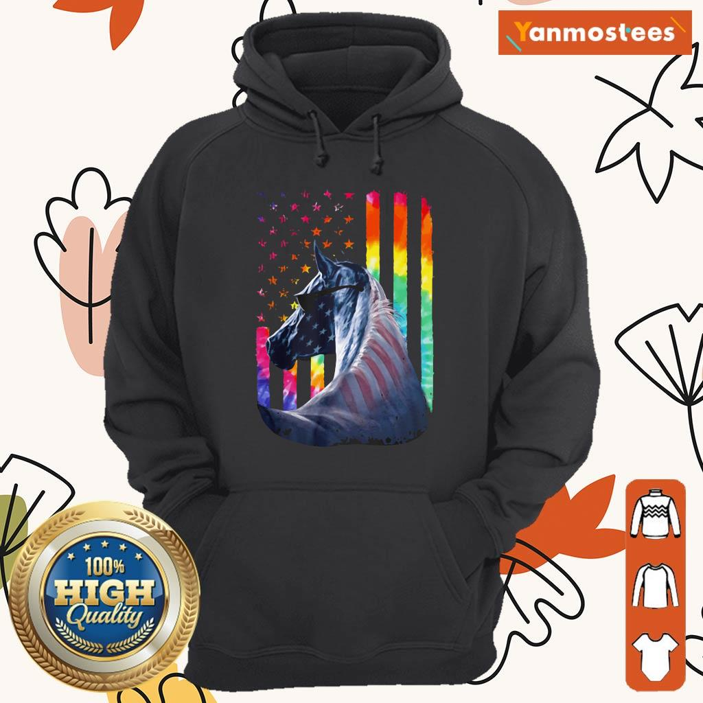 LGBT Horse American Flag Independence Day Hoodie