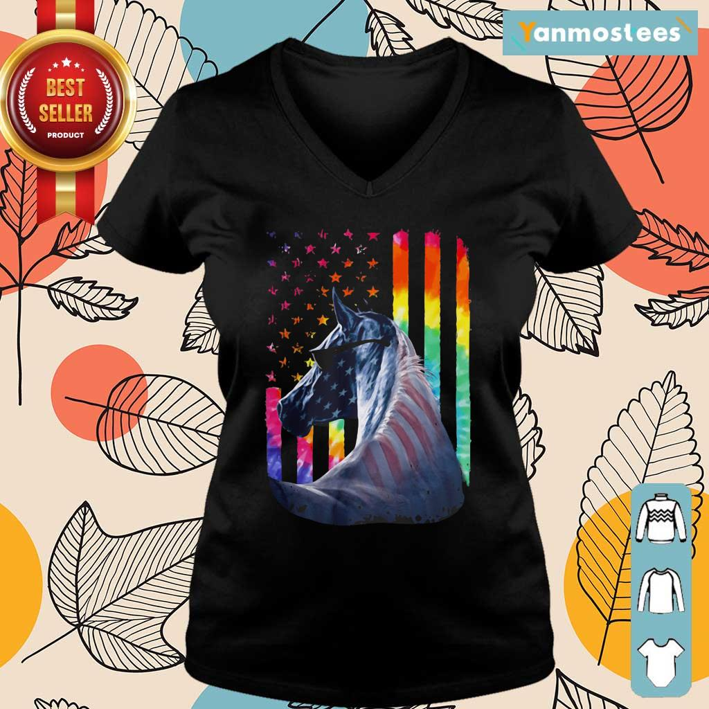 LGBT Horse American Flag Independence Day Ladies Tee