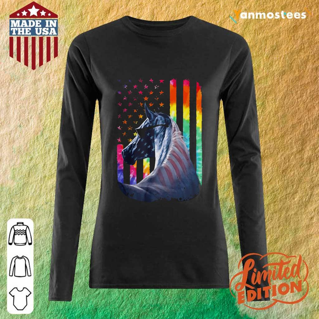 LGBT Horse American Flag Independence Day Long-Sleeved
