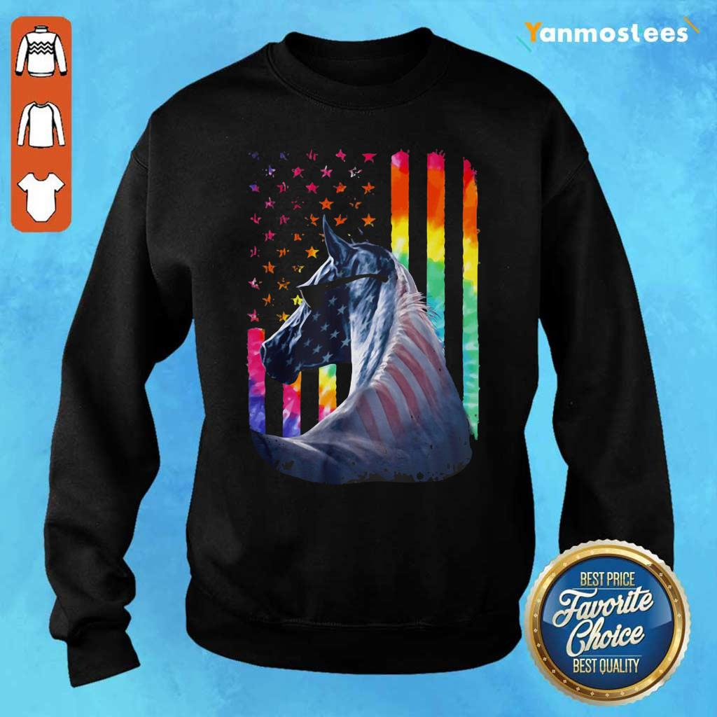 LGBT Horse American Flag Independence Day Sweater