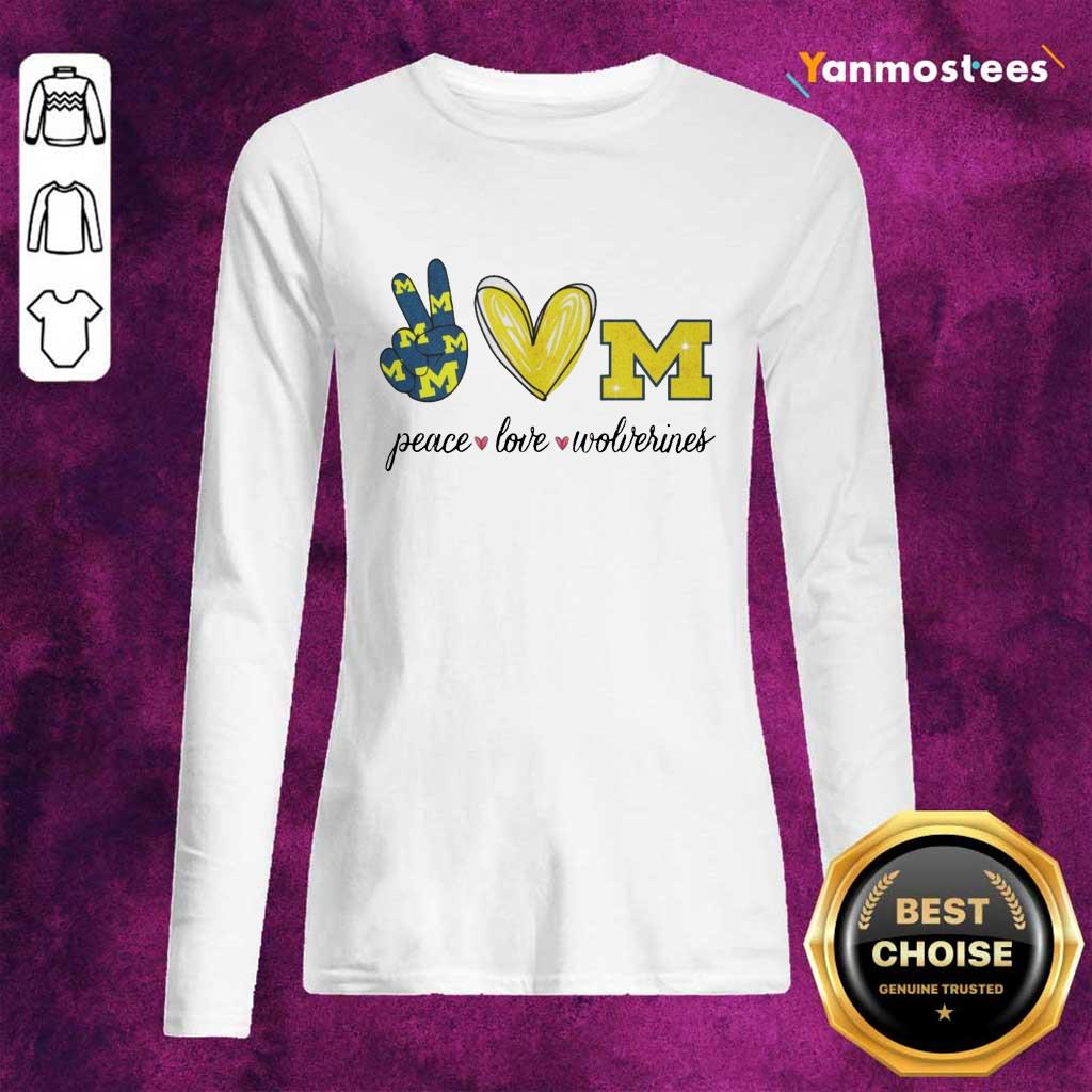 Peace Love Michigan Wolverines Long-Sleeved