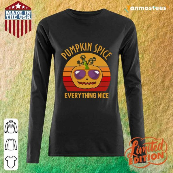 Pumpkin Spice And Everything Nice Halloween Vintage Retro Long-Sleeved