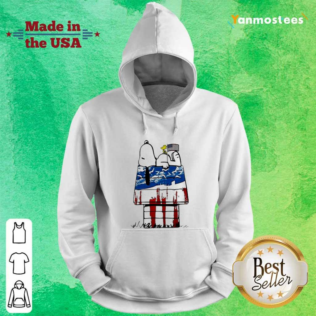 Snoopy Woodstock House American Flag 4th Of July Independence Day Hoodie