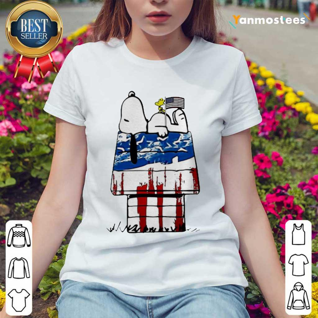 Snoopy Woodstock House American Flag 4th Of July Independence Day Ladies Tee