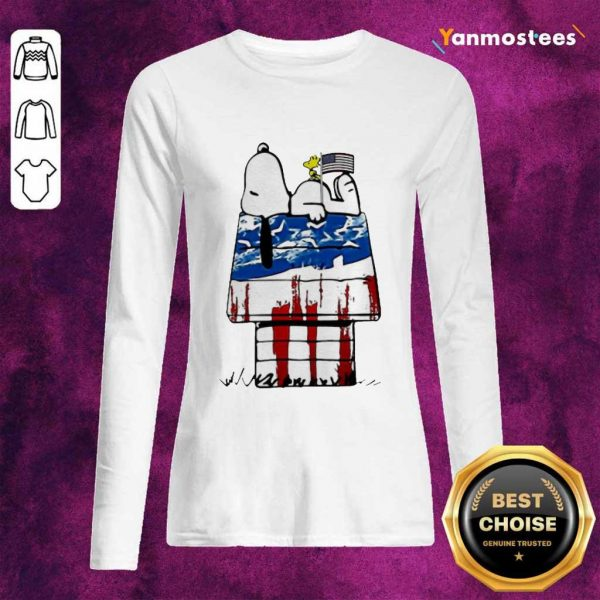 Snoopy Woodstock House American Flag 4th Of July Independence Day Long-Sleeved