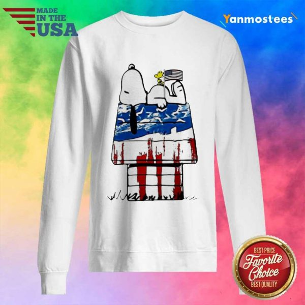 Snoopy Woodstock House American Flag 4th Of July Independence Day Sweater
