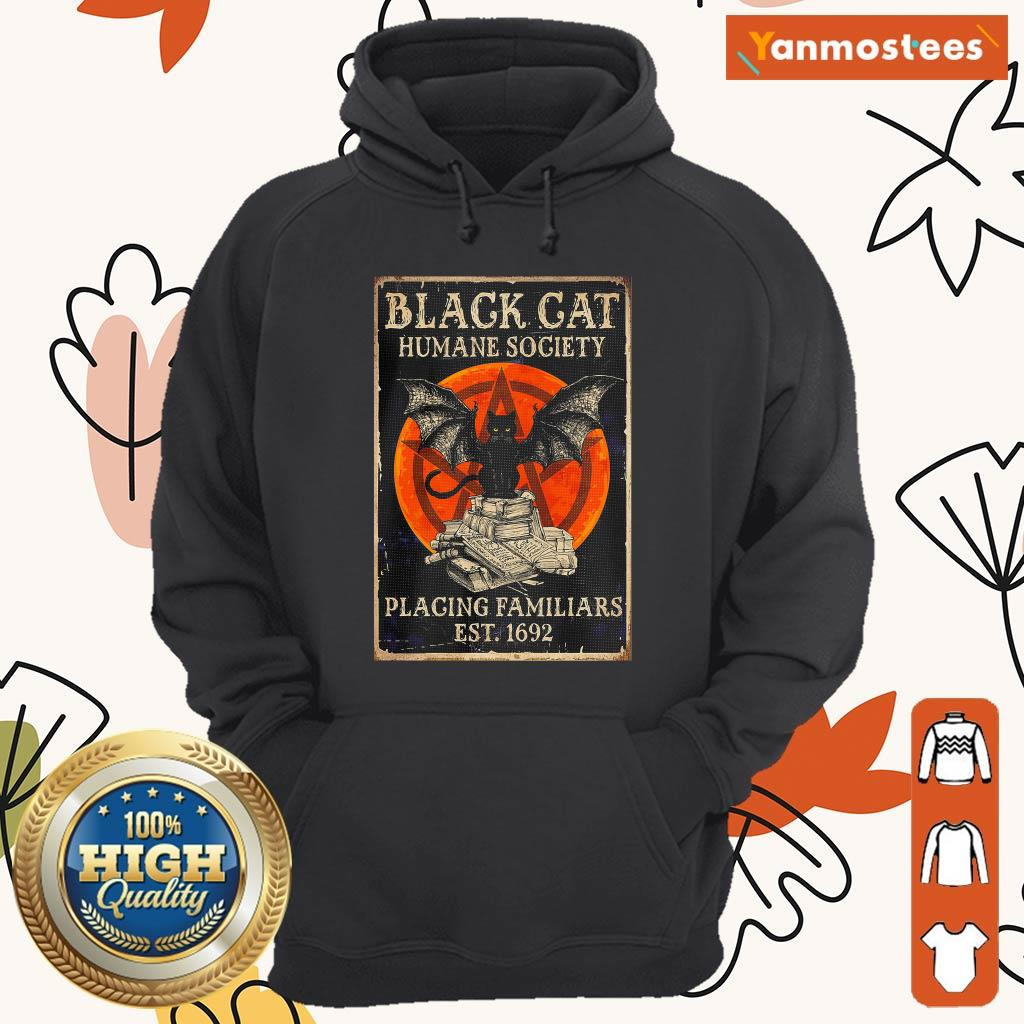 Witch Black Cat Humane Society Placing Familiars Est 1692 Sunset Hoodie