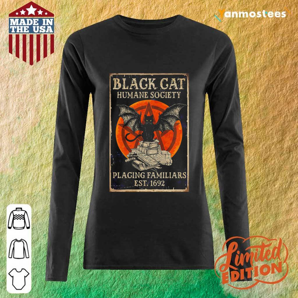 Witch Black Cat Humane Society Placing Familiars Est 1692 Sunset Long-Sleeved