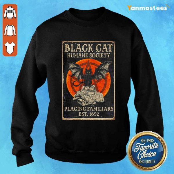 Witch Black Cat Humane Society Placing Familiars Est 1692 Sunset Sweater