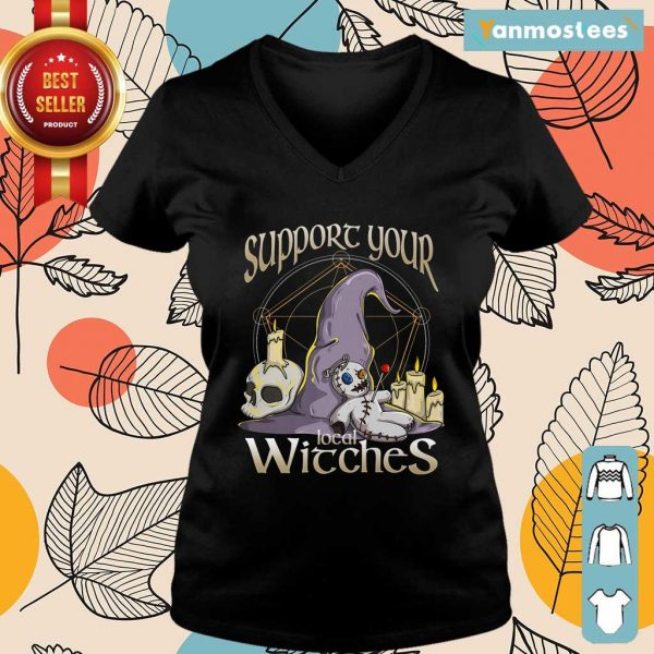 Witch Support Your Local Witches Halloween Ladies Tee
