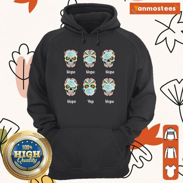 Day Of The Dead 2020 Skull Wearing Mask Funny Gift Halloween Hoodie