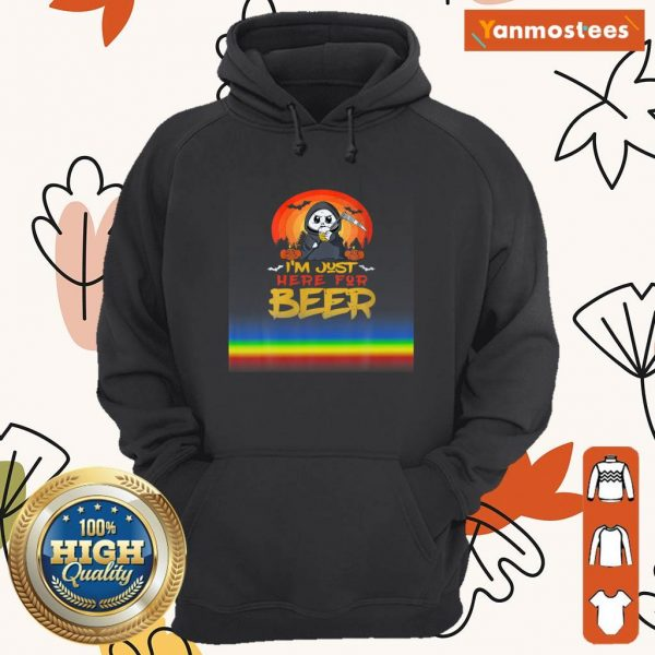 Im Just Here For Beer Halloween Halo Funny Ghost Hoodie
