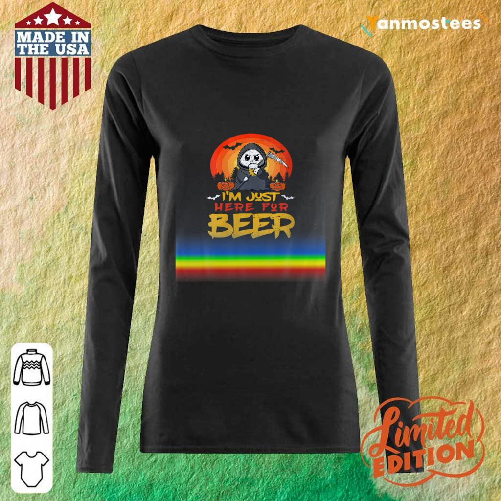 Im Just Here For Beer Halloween Halo Funny Ghost Long-Sleeved