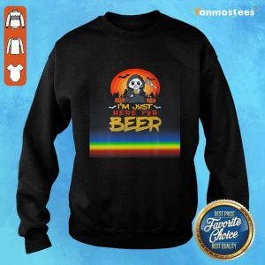 Im Just Here For Beer Halloween Halo Funny Ghost Sweater